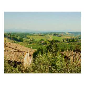 High angle view of houses with vineyard in the posters