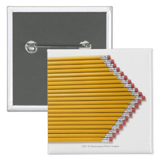 High angle view of pencils in a row 15 cm square badge
