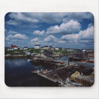 High angle view of provincial seaside town, mouse mat
