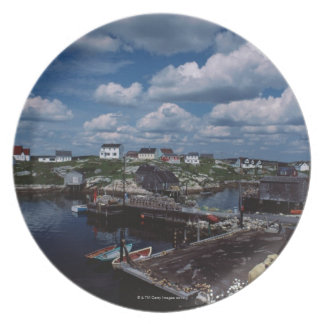 High angle view of provincial seaside town, plates