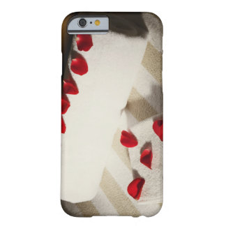 High angle view of rose petals on towels barely there iPhone 6 case
