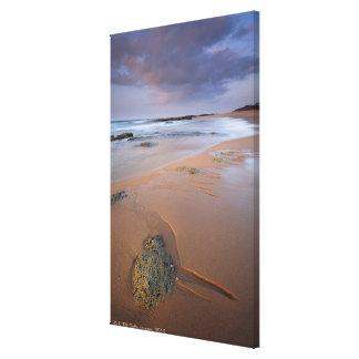 High angle view of shoreline rocks at dawn and canvas print