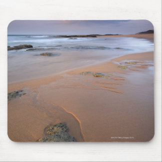 High angle view of shoreline rocks at dawn and mouse pad