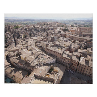 High Angle View of Townscape, Siena, Italy 2 Poster