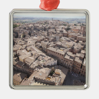 High Angle View of Townscape, Siena, Italy 2 Silver-Colored Square Decoration