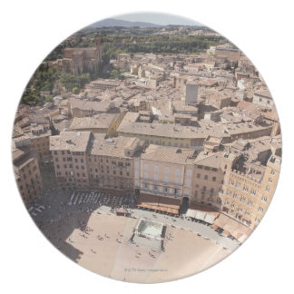 High Angle View of Townscape, Siena, Italy Plate