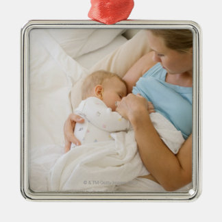 High angle view of woman breastfeeding baby Silver-Colored square decoration