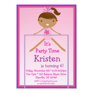 High Bar Gymnast Birthday Party Invitation