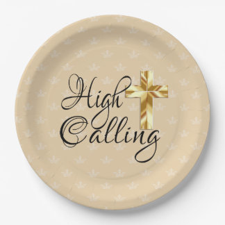 High Calling with Gold Cross on Crowns Paper Plate