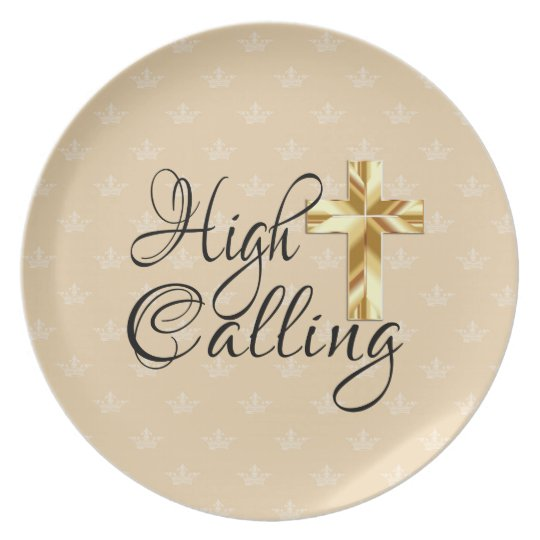 High Calling with Gold Cross on Crowns Plate