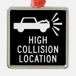 High Collision Location, Traffic Sign, Canada Christmas Ornament