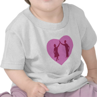 High five male and female silhouette in a heart tee shirts