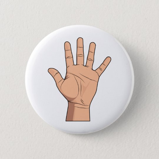 High Five Open Hand Sign Five Fingers Gesture 6 Cm Round Badge