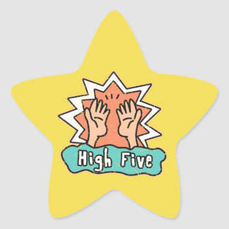 High Five Star Sticker with Yellow background
