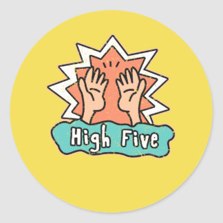 High Five Stickers with a yellow background