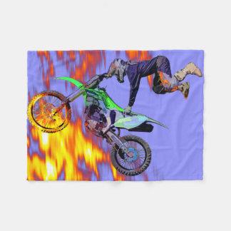 High Flying Freestyle Motocross Rider Fleece Blanket