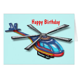 High Flying Helicopter Happy  Birthday Card