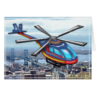 High Flying Helicopter Over the City  Blank Card