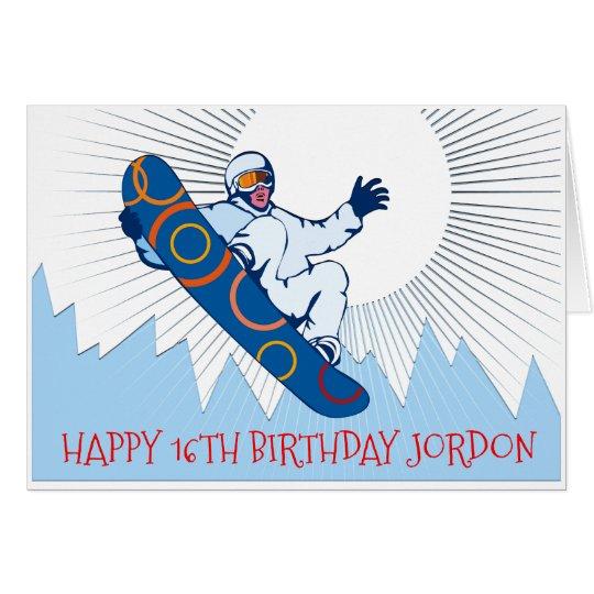High flying snowboarder birthday card