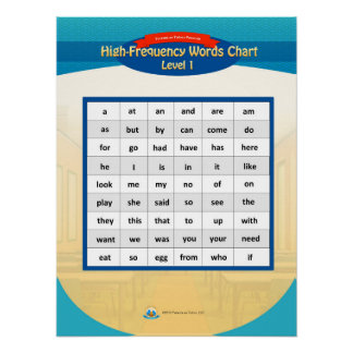 High-Frequency Words Chart - Level 1 Poster
