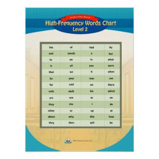 High Frequency Words Chart - Level 2 Poster