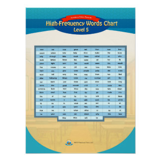 High Frequency Words Chart - Level 5 Poster
