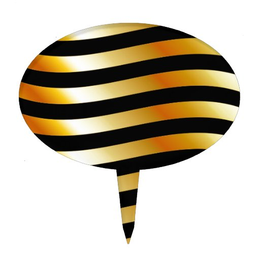 High grade gold metal waves cake toppers