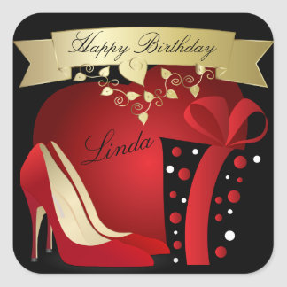High Heel Pumps Birthday Celebration | Customize Square Stickers
