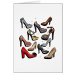 High Heel Shoe Collage Sparkle Fashion Pumps Greeting Card