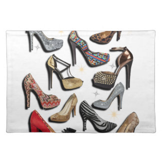 High Heel Shoe Collage Sparkle Fashion Pumps Placemat