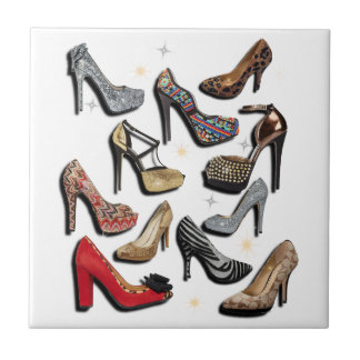 High Heel Shoe Collage Sparkle Fashion Pumps Small Square Tile