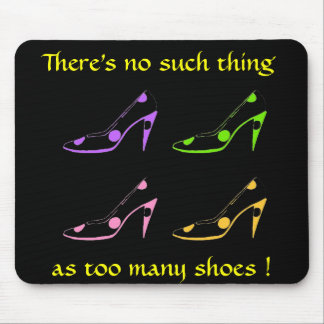 High Heel Shoe Diva- pastel on black Mouse Mat
