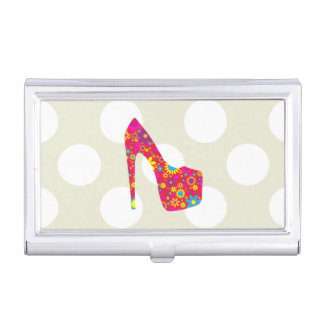 High Heel Shoe, Flowers - Red Yellow Blue Business Card Holder
