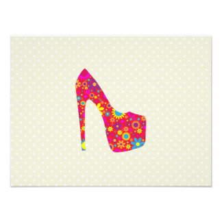 High Heel Shoe, Flowers - Red Yellow Blue Photo Print