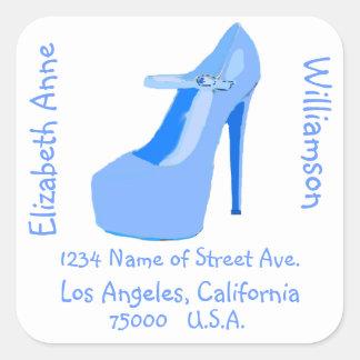 High Heel Shoes blue  return address Square Sticker