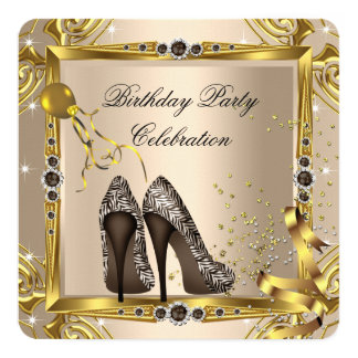 High Heel Shoes Coffee Brown Zebra Gold Party 13 Cm X 13 Cm Square Invitation Card