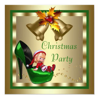 High Heel Shoes Elf Christmas Party 13 Cm X 13 Cm Square Invitation Card
