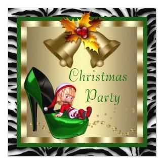 High Heel Shoes Green Zebra Christmas Party 13 Cm X 13 Cm Square Invitation Card