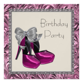 High Heel Shoes Hot Pink Black Birthday Party Personalized Invite