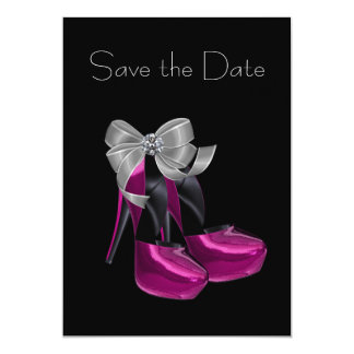 High Heel Shoes Hot Pink Black Save The Date 13 Cm X 18 Cm Invitation Card