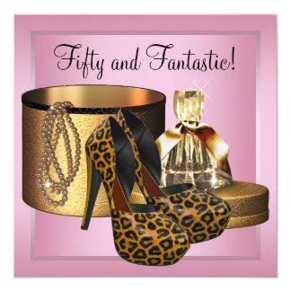High Heel Shoes Leopard Gold Womans 50th Birthday 13 Cm X 13 Cm Square Invitation Card
