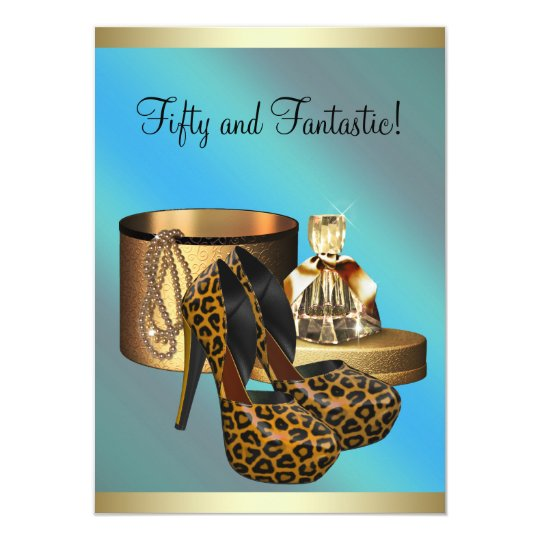 High Heel Shoes Leopard Gold Womans 50th Birthday