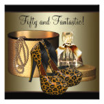High Heel Shoes Leopard Gold Womans 50th Birthday Personalised Invites