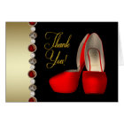 High Heel Shoes Pearls Black Red Gold Thank You Card