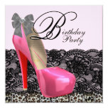 High Heel Shoes Pink Leopard Birthday Party 13 Cm X 13 Cm Square Invitation Card