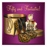 High Heel Shoes Pink Leopard Womans 50th Birthday Custom Invitations