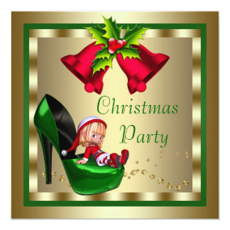 High Heel Shoes Red Gold Green Christmas Party 13 Cm X 13 Cm Square Invitation Card