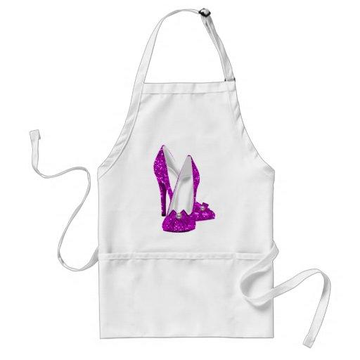 High Heel Shoes Stileto Glitter Pink Aprons