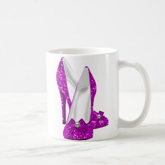 High Heel Shoes Stileto Glitter Pink Coffee Mug