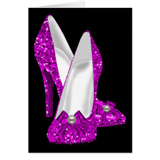 High Heel Shoes Stileto Glitter Pink Greeting Card